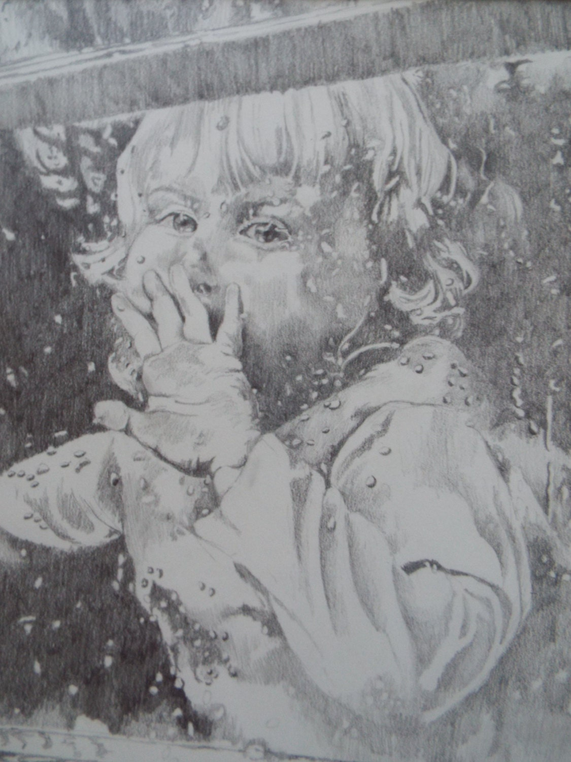 Original impressionist pencil graphite drawing portrait painting of little girl in window rainy day signed childs room