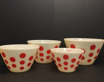 Vintage FireKing, Splash Proof, Milk Glass, Nesting  Mixing Bowls with Red polka dot, one, two, three and four Quart size 1940's