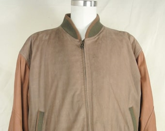Members Only  Brown Green Basic Leather Jacket  Size: XL