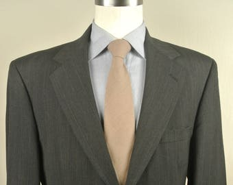 Evan Picone Charcoal Pinstripe 100% Worsted Wool Two Button 2 Pc Lounge Suit Size: 42R