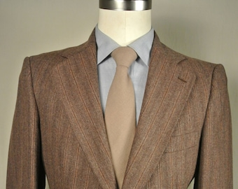 Colony Square Brown Striped 100% Wool Two Button Sport Coat Men's Size: 37R