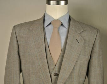 Gentry Light Gray/Blue Glen Check Wool Three Piece Two Button Lounge Suit Size: 41L