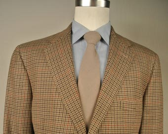 Polo Ralph Lauren Brown/Tan Houndstooth Flannel Wool Two Button Sport Coat Size: 42L