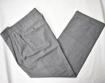 6e6d6525e7ef6a Zanella Light Gray 100% Wool Flannel Dress Pleat Trousers Size: 29x30