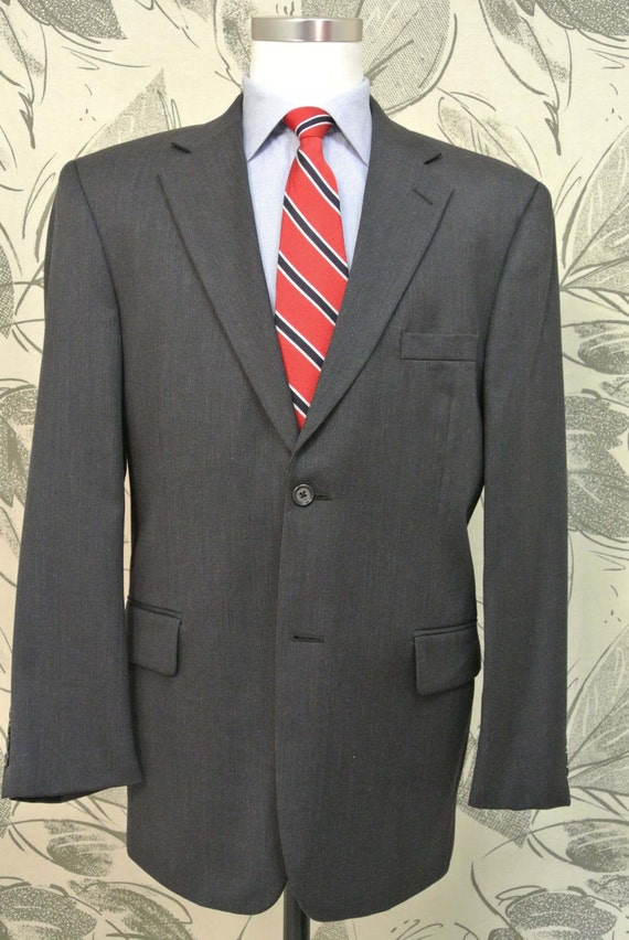 Pronto Uomo Charcoal 100% Worsted Wool Two Button