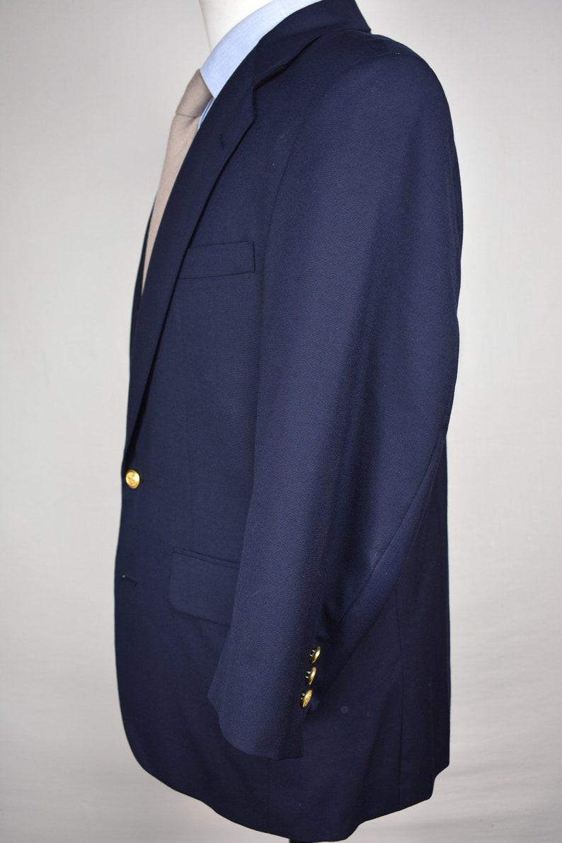 40S Reichardt/'s Solid Navy Blue 100/% Worsted Wool Two Button Blazer Size