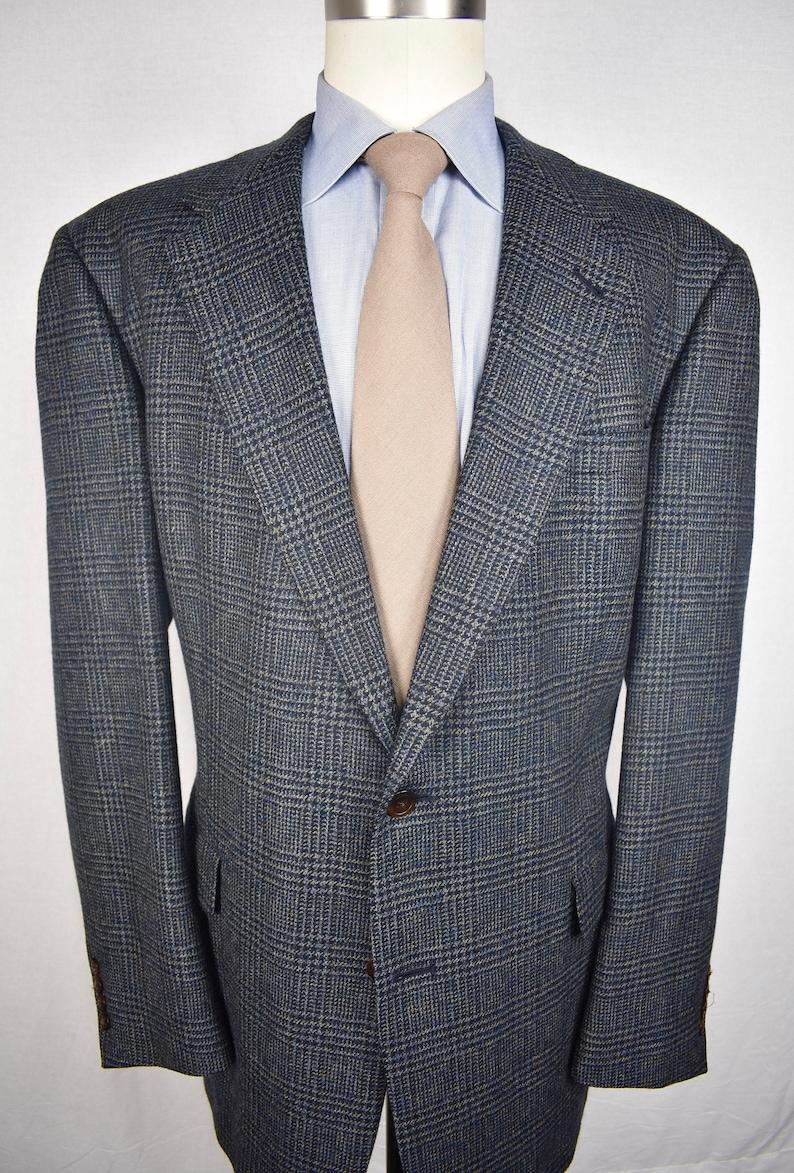 46L Hart Schaffner Marx BlueYellow Glen Check Flannel Wool Sport Coat Size