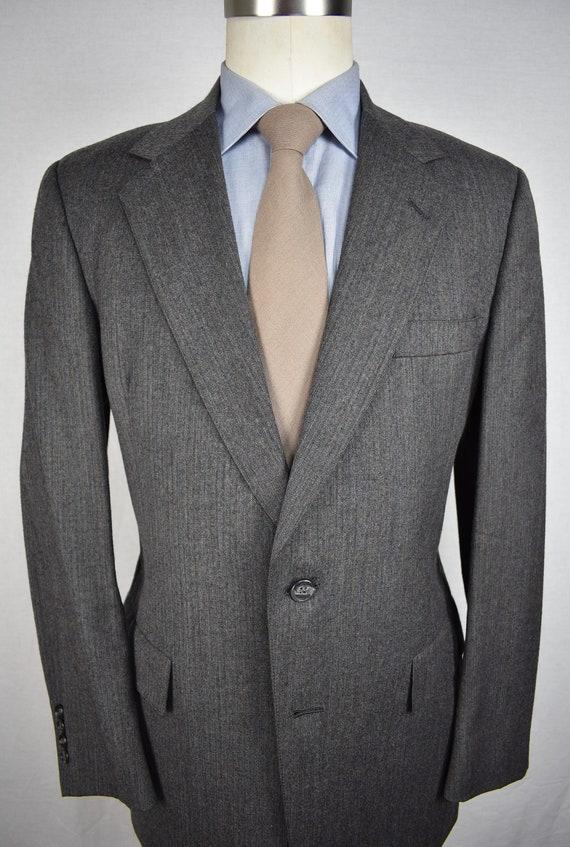 Foreman /& Clark Dark Gray Herringbone Three Button Overcoat Size 42S
