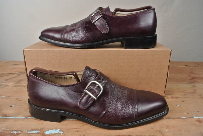 c9bcc23d9b0c4 Vito Rufolo Burgundy Monk Strap Cap Toe With Brogue Detail Oxford Size: 11D