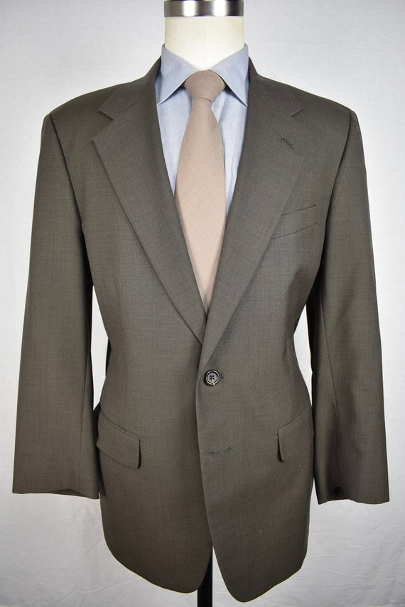 Unbranded Brownish Gray Worsted Wool Two Button Tw