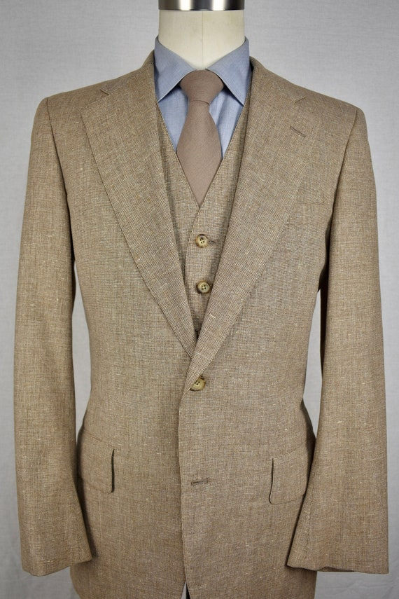 1960-70's Corbin Brown Wool Blend Two Button Three