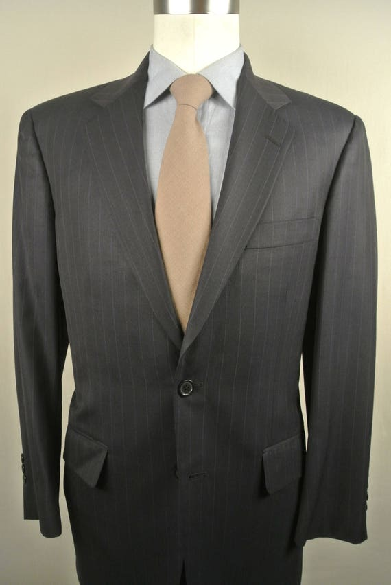 Southwick Navy Blue Pinstripe 100% Worsted Wool Tw