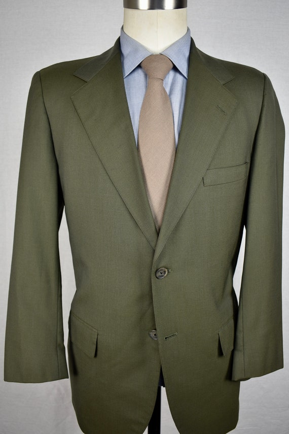 Southwick Solid Green 100% Worsted Wool Two Button