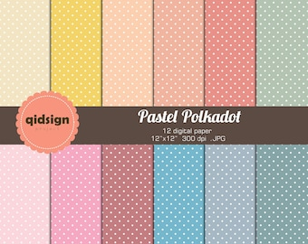 Pastel Polkadot Digital Paper Personal And Commercial Use.JPG Instant Download