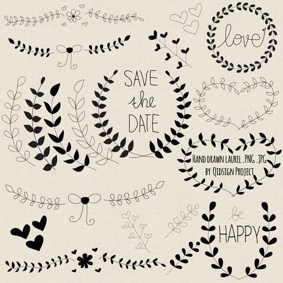 Hand Drawn Laurel Clipart Black For Scrapbooking Wedding Invitation