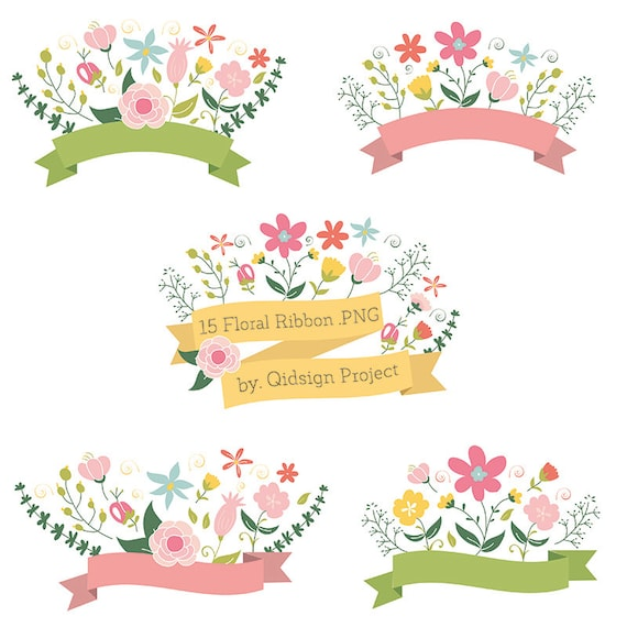 15 Floral Ribbon Banner Clipart Flower Bouquet Flower Wreath | Etsy