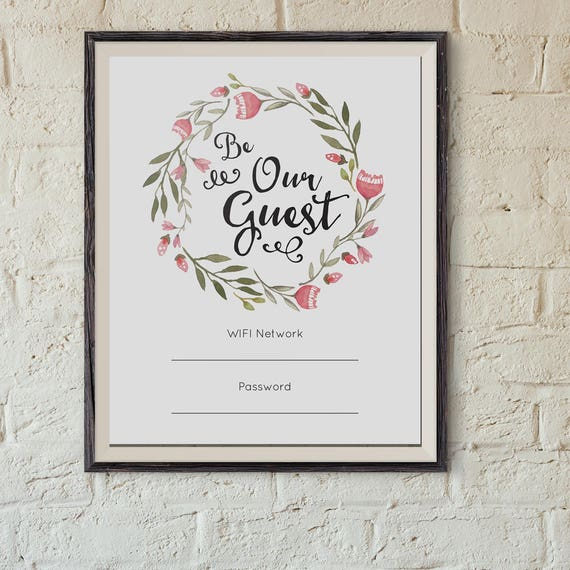 Guest Room Sign Decor: Printable Wifi Password, Guest Room Sign, Editable Pdf, Be