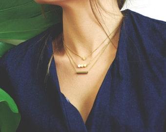 Eos Hexagonal Bar Brass Pendant Necklace