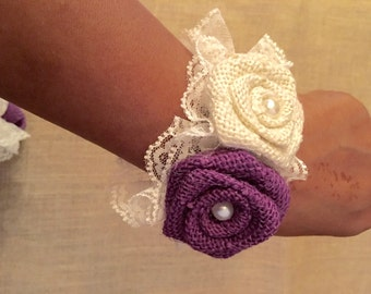 Burlap Wrist Corsage - Country Victorian Wedding