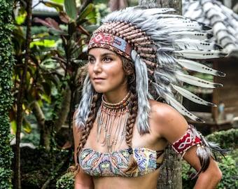 Native american headdress | Etsy Indigenous Aztec Women