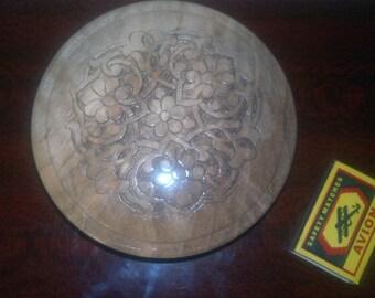 Uzbek Carved Wood Walnut Round Box