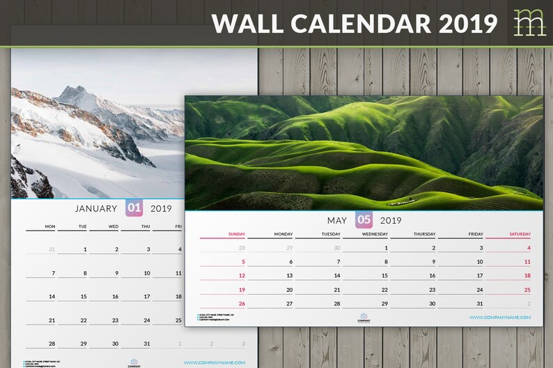 Calendario Indesign.Modello Di Indesign Modificabili Parete Calendario 2019