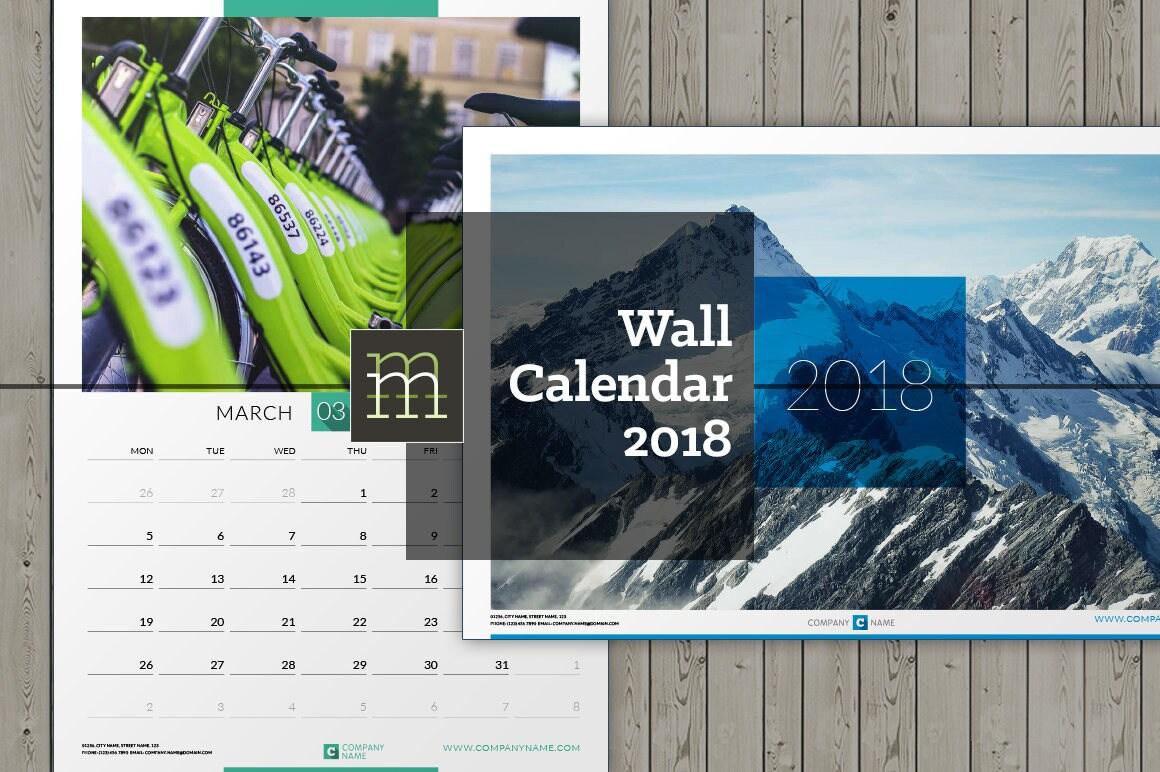 Editierbare Wand Kalender 2018 InDesign Vorlage