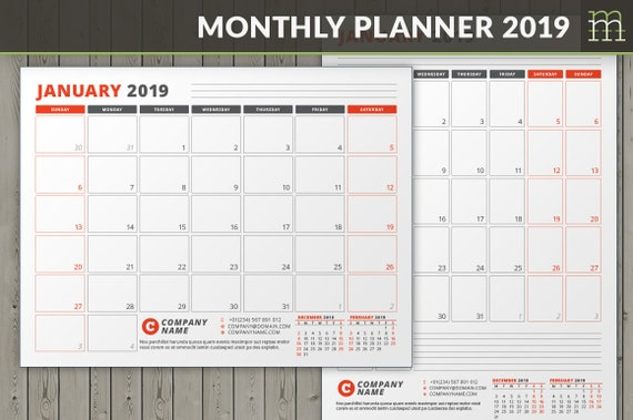 editable monthly planner 2019 indesign template etsy