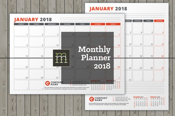 editable monthly planner 2018 indesign template etsy