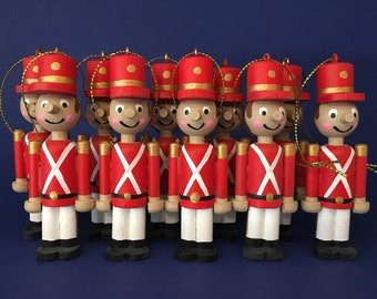 set of 10 wooden toy soldiers small version christmas ornaments - Christmas Decorations Wooden Soldiers