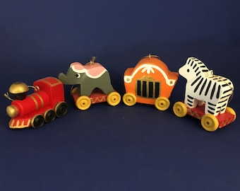 Wooden Circus Train Set of 4 Christmas ornaments
