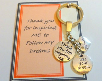 thank you for inspiring me to follow my dream thank you gift to show appreciation mentor life coach key ring on generic card
