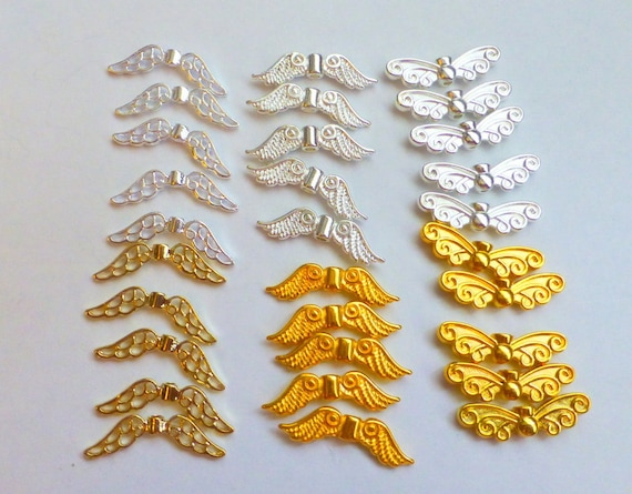 30 Design E Guardian Angel Fairy Wing Charm Spacer Bead Bright Plated