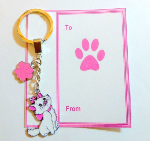AristoCat Marie Novelty Cat Bag Charm with Pink Paw Print Charm on Gift Card