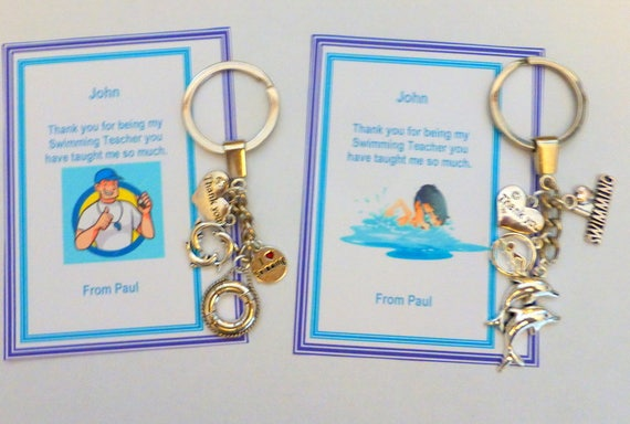 Thank You Gift For Swimming Teacher Or Swimming Coach Key Ring On Personalised Or Generic Gift Card Dolphin Charm I Love Swimming Charm