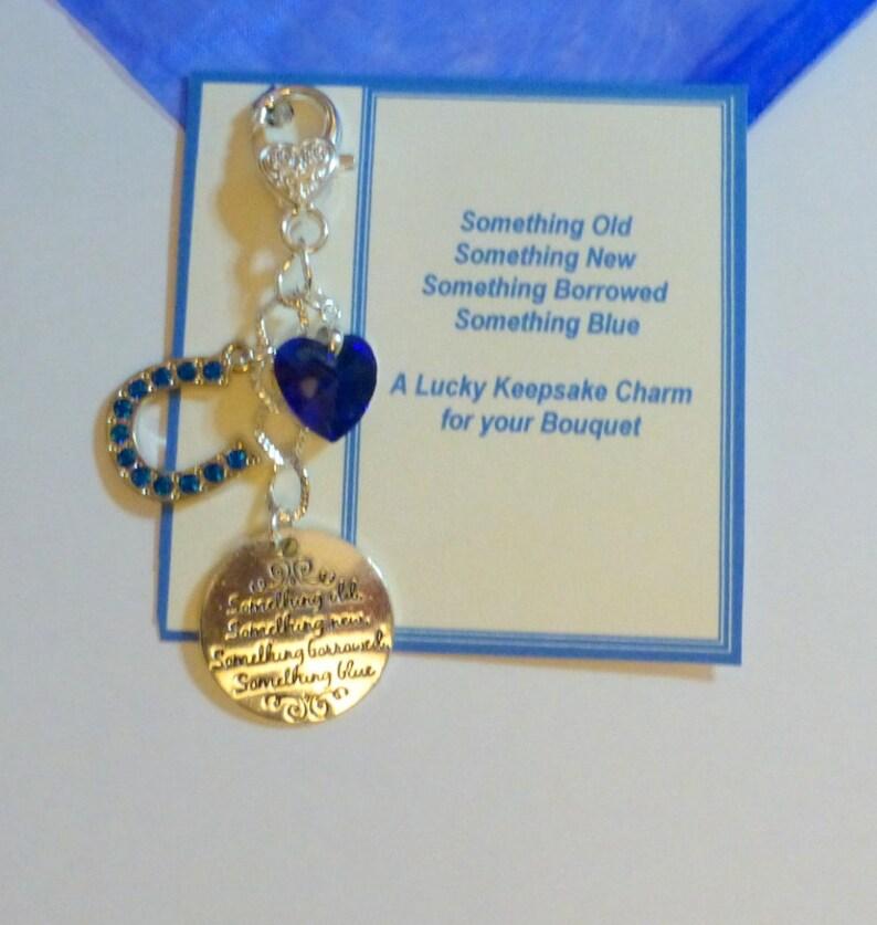 Something Blue Traditional Lucky Bridal Charm Horseshoe /& Heart for Bouquet Bridal Wedding Charm