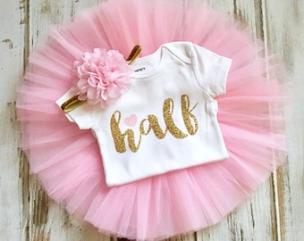 f88f9d7d27fe Half Birthday Outfit Girl- Pink and Gold Half Birthday Outfit- Pink Gold Half  Birthday Tutu- Pink Gold Birthday Tutu Outfit- Pink Tutu