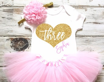 0b365b2298ac7 3rd Birthday Outfit Girl Third Birthday Outfit Girl 3rd Birthday Shirt Girl  3rd Birthday Girl 3rd Birthday Tutu Outfits Pink and Gold Tutu