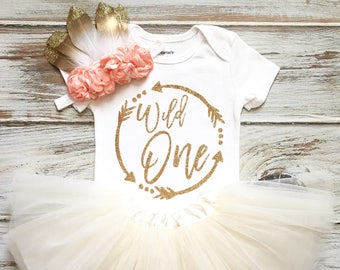 6e71299b7 Wild One Birthday Girl- Wild One Birthday- Wild One Birthday Outfit- Wild  One Shirt- Boho Birthday Girl- 1st Birthday Girl Outfit Ivory Tutu