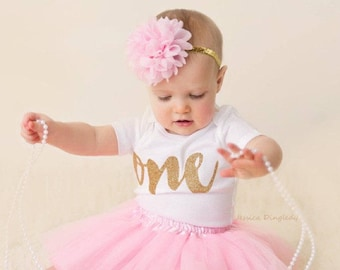 1st Birthday Girl Outfit Pink And Gold First Tutu Outfits