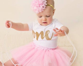 9ca46523a3a3d First Birthday Outfit Girl- 1st Birthday Girl Outfit- Pink and Gold First  Birthday Outfit- 1st Birthday Tutu Outfits-First Birthday Tutu