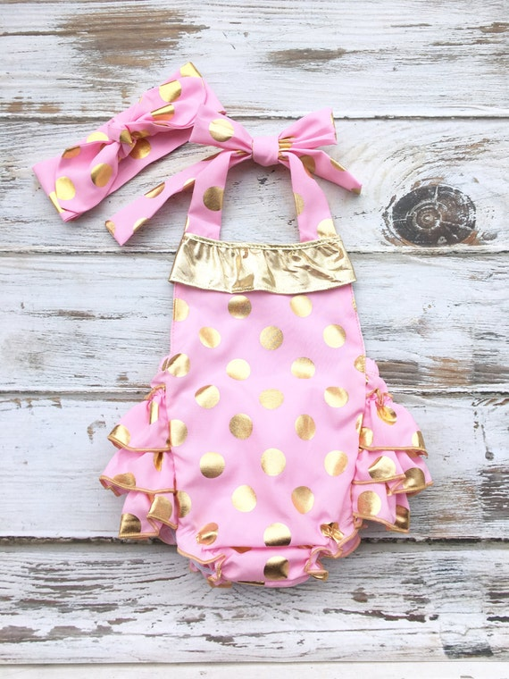 Sequin Romper Baby Pink Gold Ruffle Romper Pink Gold First 1st Birthday Outfit