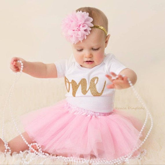 First Birthday Outfit Girl 1st Birthday Girl Outfit Pink and | Etsy