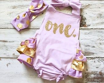 1st Birthday Romper- First Birthday Outfit Girl- Lavender and Gold Romper- 1st Birthday Girl Outfit- Birthday Romper- Gold Sequin Romper