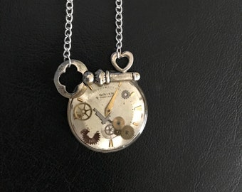 Key Necklace, With Resin-set Vintage Mechanical Watch Parts & 1950s Gruen Watch Face, Steampunk Necklace
