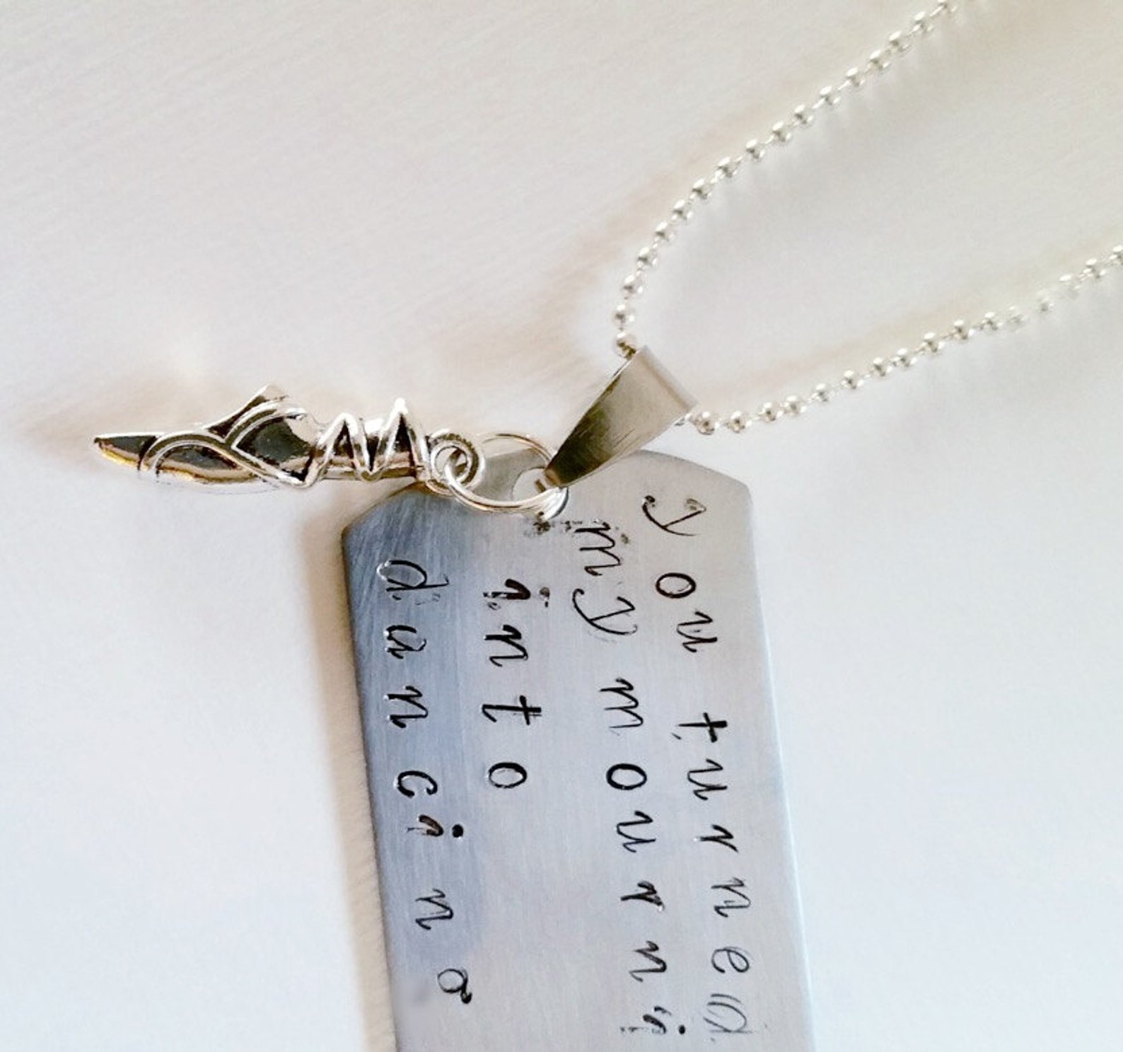 bible verse pendant, hand stamped christian jewellery,dog tag, dancing, ballet shoe, 'you turned my mourning into dancing