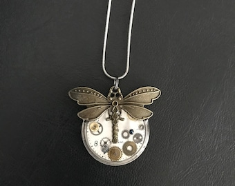 Dragonfly Necklace, Resin-set Vintage Mechanical Watch Parts & Vintage Watch Face, Steampunk Necklace. Free Shipping