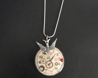 Bird Necklace, With Resin-set Vintage Mechanical Watch Parts & 1950s Watch Face, Steampunk Necklace. Free Shipping