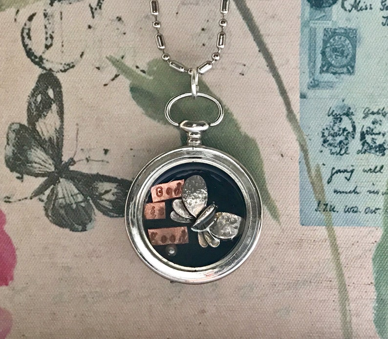 Vintage Pocket Watch Repurposed Shadow Box Pendant with image 0