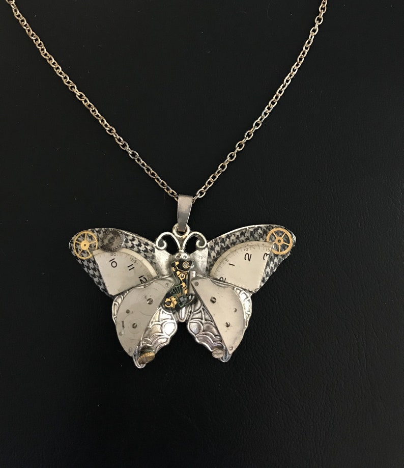 Steampunk Necklace Steampunk Butterfly Necklace With Vintage image 0
